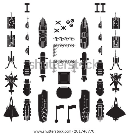 Military and army icons top view for planing and map positioning - stock vector