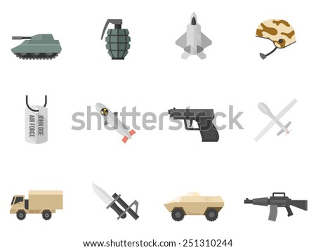 Military and weapon icons in flat color style - stock vector