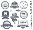military army set label template of emblem element for your product or design, web and mobile applications with text. Vector illustration with thin lines isolated icons on stamp symbol.  - stock vector