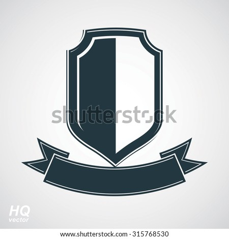 Military award icon. Heraldic blazon illustration, decorative coat of arms. Vector gray defense shield with stylized curvy ribbon, protection element, best for use in graphic and web design. - stock vector