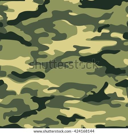 Military background, camo pattern, khaki seamless vector - stock vector