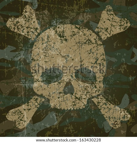 Military background with skull and crossbones (vector illustration) - stock vector
