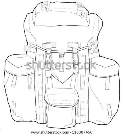 Military backpack outline vector drawing. Very detailed. Fully editable. - stock vector