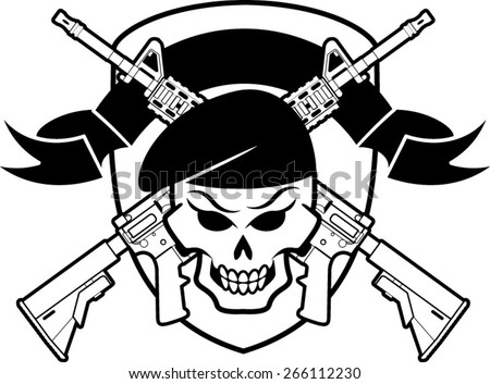 military badge with skull wearing beret  and crossed assault rifles - stock vector