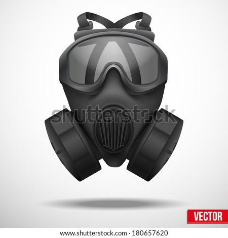 Military black gasmask respirator. Vector illustration. Rubber army symbol of defense and protect. Isolated on white background. Editable. - stock vector