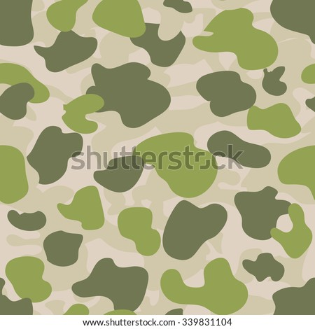 Military Camouflage Textile Seamless: USA, 1940 - 1950, Parachute, Green  - Vector Illustration with Pattern in Swatches Panel - stock vector