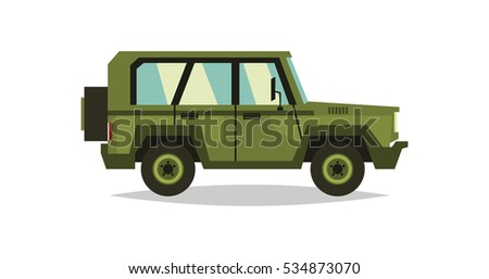 Military car. Transportation soldiers. Special equipment. Diesel. Vector illustration. flat style