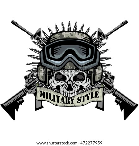 Military Coat Arms Skull Grungevintage Design Stock Vector ...