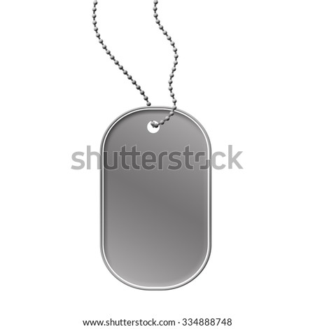 Military dog tag on white background, vector illustration - stock vector