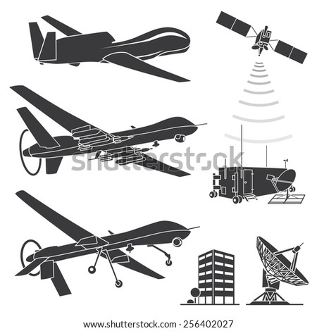 Military Drones Vector Illustration