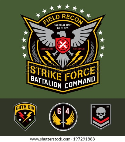 Military eagle graphic set - stock vector