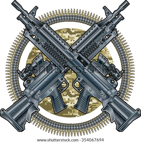 military emblem with crossed light machine guns and ammunition belts - stock vector