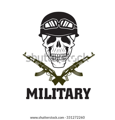 military emblem with skull and automatic guns - stock vector