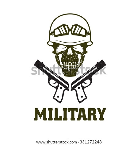 military emblem with skull and guns - stock vector