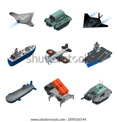 Military equipment isometric icons set with submarine fighter aircraft tank isolated vector illustration - stock vector