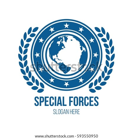 military globe shield theme logo design stock vector royalty free