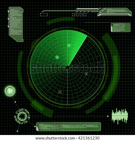 Military green radar. Screen with target. Futuristic HUD interface. Stock vector illustration. - stock vector