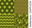Military green seamless patterns set: camo, chevron, stars. Vector background. - stock vector