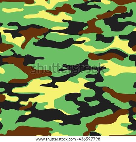 Military green yellow background. Seamless camo khaki vector pattern - stock vector