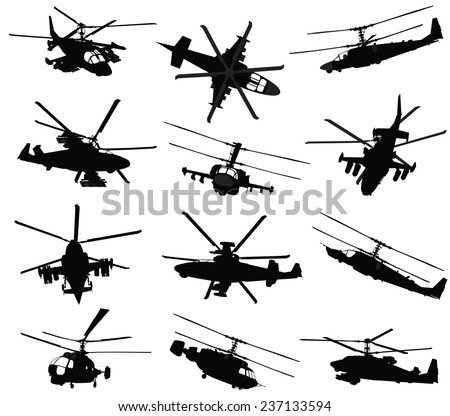 Military helicopter silhouettes set. Vector on separate layers - stock vector