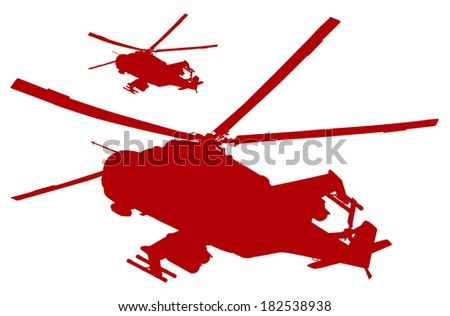 Military helicopters flying. Vector silhouettes - stock vector
