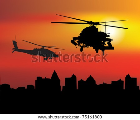 Military helicopters over the city at dawn - stock vector