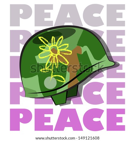 military helmet with a yellow flower, camuflage, text peace in fuchsia degrade. - stock vector