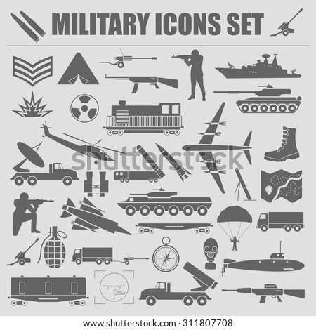 Military icon set. Constructor, kit. Vector illustration - stock vector