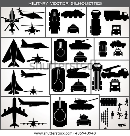 Military Icon Vector. Abstract Weapon Silhouettes. Various Planes Vehicles Tanks, Troops. Military Icons Kit Collection for Your Infographics, Map or Game Design - stock vector