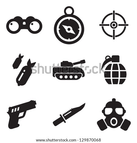 Military Icons - stock vector