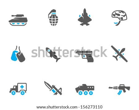 Military icons in duo tone colors. - stock vector