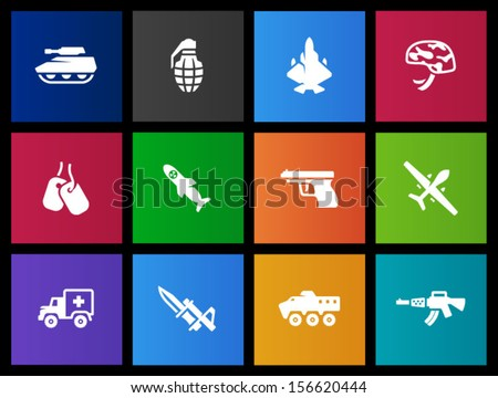 Military icons in Metro style - stock vector