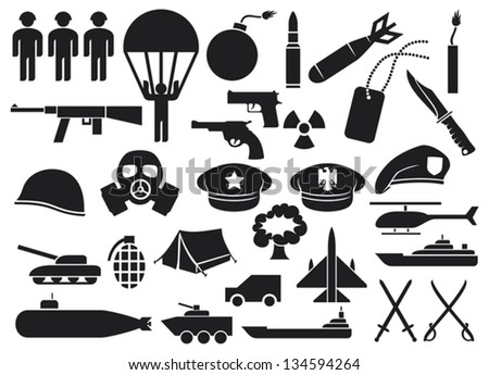 military icons (knife, handgun, bomb, bullet, gas mask, swords, helmet, captain hat, explosion, dynamite, tent, machine gun, military beret, armoured personnel carrier, aircraft carrier, battleship) - stock vector