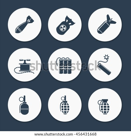 Military icons set vector. Flat bombs dynamits and military rocket - stock vector