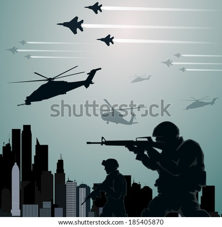 Military invasion - stock vector