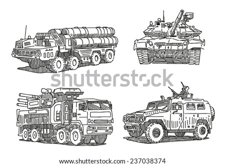 Military machines sketch drawings set isolated on white background  - stock vector