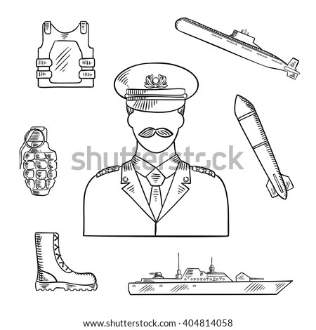 Military man in uniform sketch symbol with hand grenade, body armor and boots, naval warship, torpedo and submarine. Use as military and naval professions design - stock vector