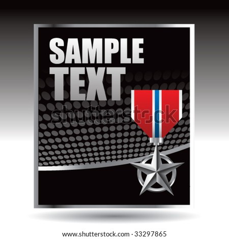 military medal on black halftone banner - stock vector