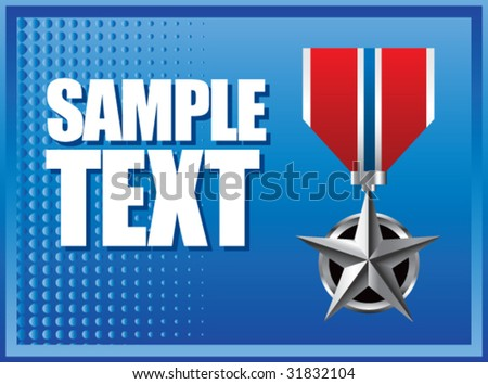 military medal on blue halftone banner - stock vector