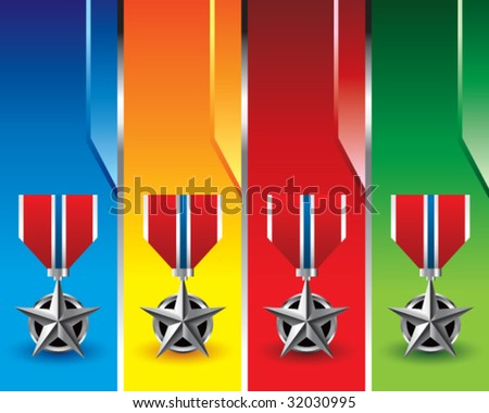 military medal on colored banners - stock vector