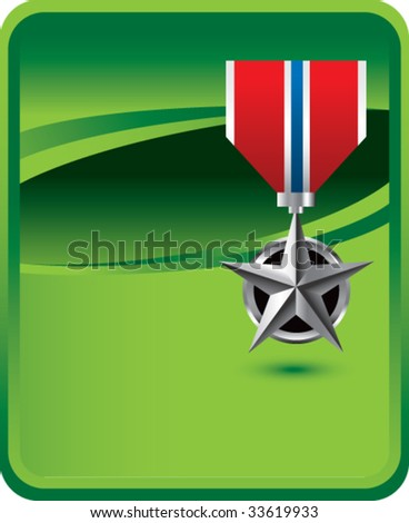 military medal on green background - stock vector