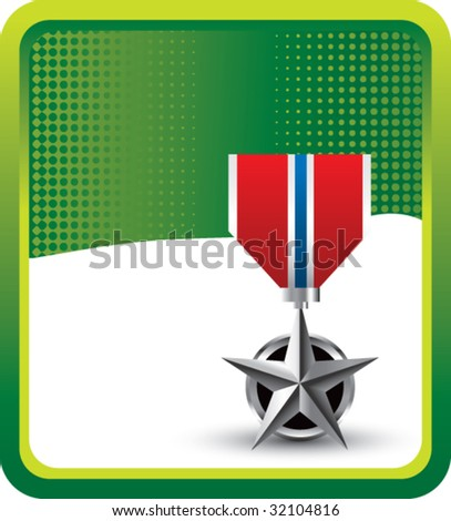 military medal on green halftone banner - stock vector