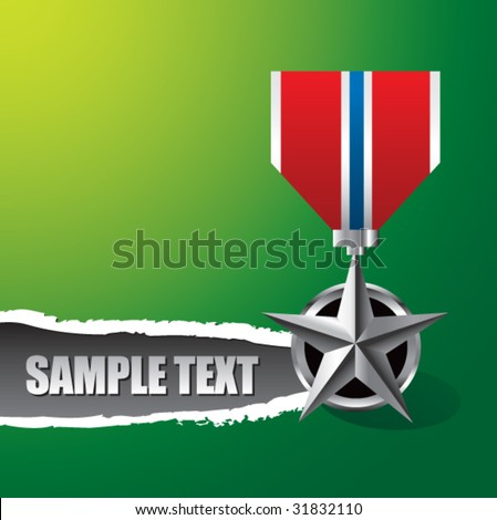 military medal on ripped banner - stock vector