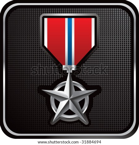 military medal on web button - stock vector