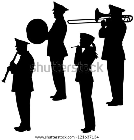 military musicians collection. Vector  illustrations. - stock vector