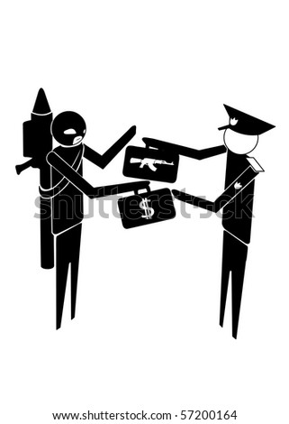 military or police exchanging weapon for money with terrorist - stock vector