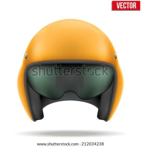 Military Orange Aircraft marshal helmet. Help of steward. Vector illustration isolated on white background. - stock vector