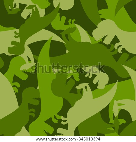 Military pattern dinosaur. Army texture of Tyrannosaurus. Camo background of t-Rex. Soldier ornament of prehistoric Raptor. - stock vector
