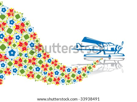 Military plane in abstract collage. Format A4. Vector illustration. Isolated groups and layers. Global colors.