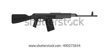 Military rifle army machine gun and weapon vector illustration. Machine metal russian gun. Defense security steel war machine weapon. Submachine gun icon color silhouette vector illustration.  - stock vector